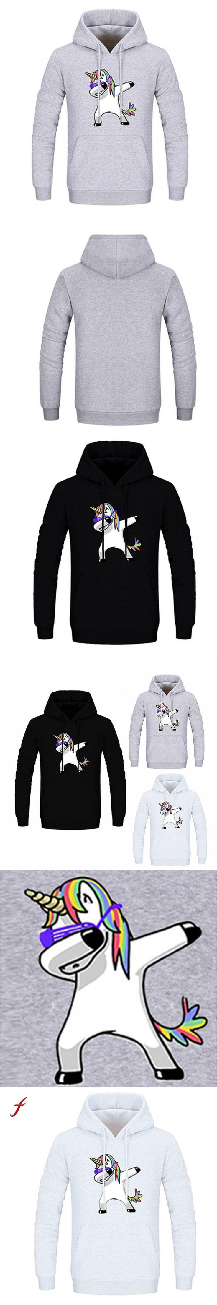 2017 Newly Simple Korean Style winter sweatshirts for Men Unicorn Print Long Sleeve Drawstring Hoodies Pocket jumper Pullover