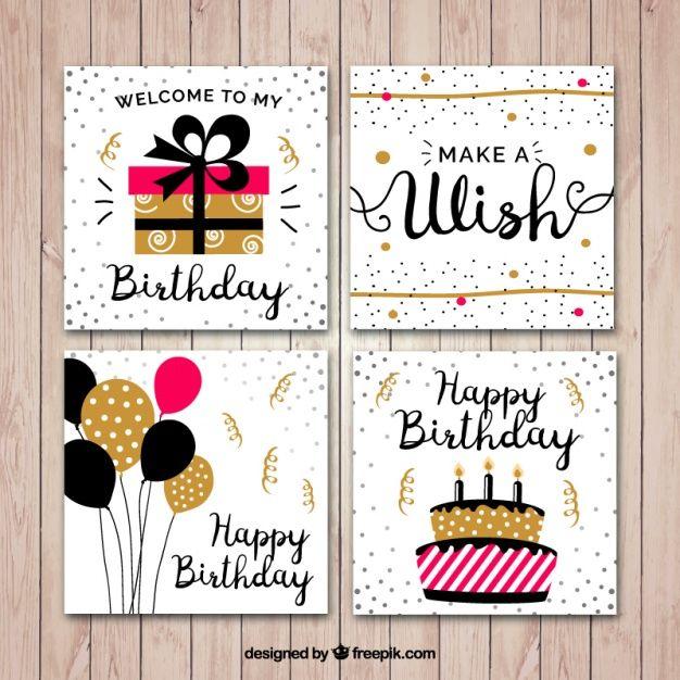 Flat birthday card set Free Vector