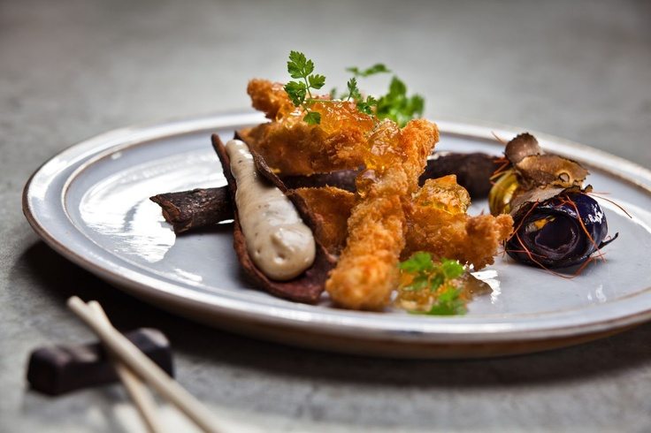Tonkatsu Iberico  Exceptional species of black Iberian pig raised on acorns and corn alone in panko crumbs, served with apple vinegar jelly and cabbage roll tinged with truffle