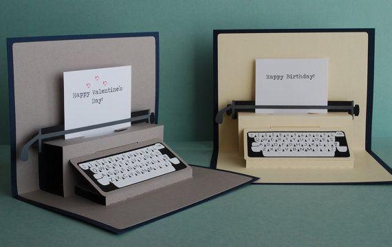 Typewriter Pop-Up Card by PeadenScottDesigns on Etsy