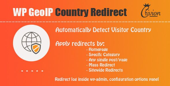 WP GeoIP Country Redirect . WordPress GeoIP Country Redirect plugin allows you to automatically redirect your visitors based on their country and a set of rules which you can define into wordpress administration