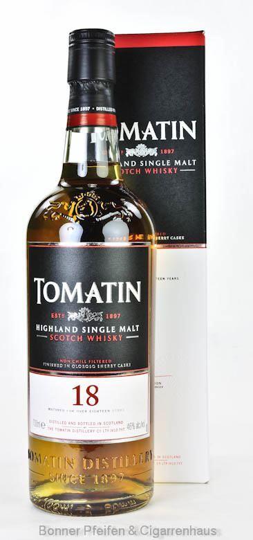 Tomatin Whisky 18 y.o. Region : Highland 46 % alc./vol. 0,7l nicht kühlgefiltert mit Farbstoff Fassart : Nachgereift in Oloroso-Sherryfässer Nase : Sherry-Noten mit frischen Äpfeln und Zimt, Vanille, Ahornsirup, ein Hauch von rauchigem...