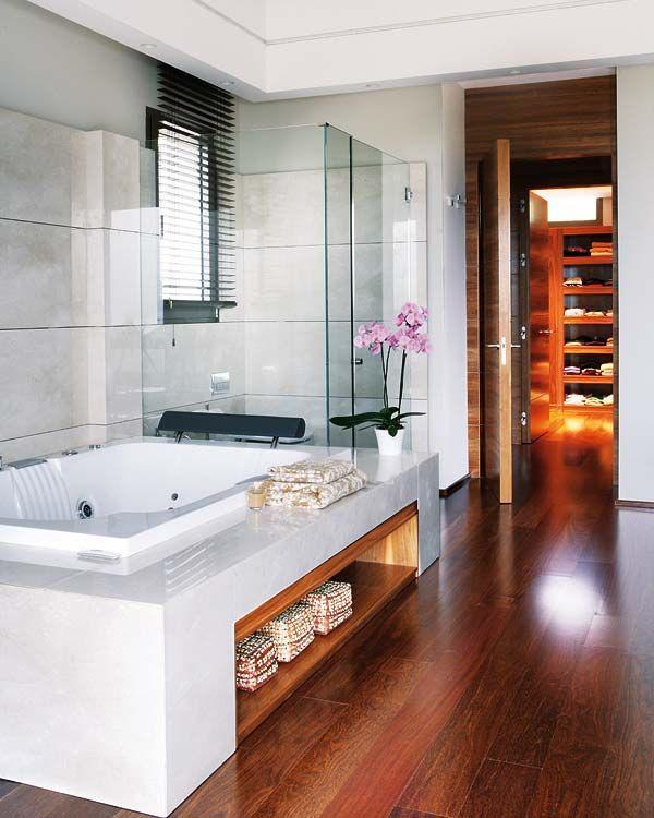 Bath Storage But Hidden And Wood Around Tub Instead