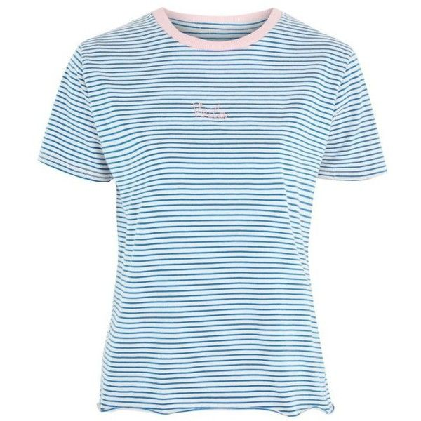 Petite Women's Topshop Voila Stripe Tee ($28) ❤ liked on Polyvore featuring tops, t-shirts, embroidered top, striped top, striped t shirt, blue striped t shirt and cotton jersey