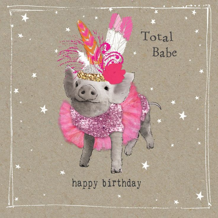 "A lovely birthday card from our Fancy Pants animal range, featuring a very glamorous piglet. With caption: ""Happy Birthday total babe"""
