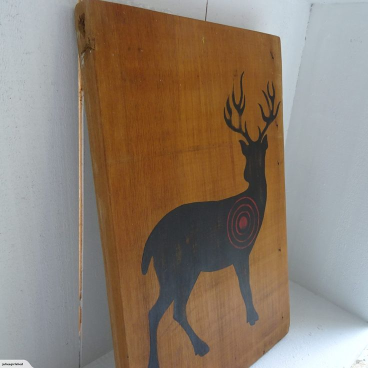 Recycled Rimu hand painted Deer Panel | Trade Me