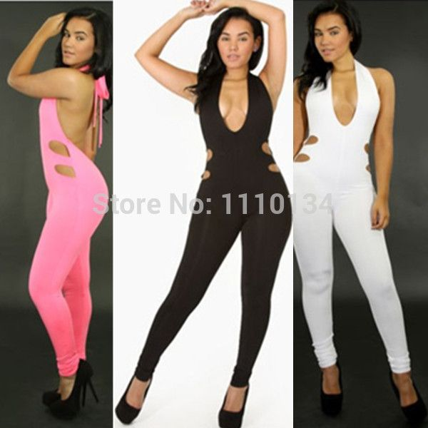 New 2014 Women Sexy Jumpsuit Sleeveless Backless Black White Pink Charming Bodysuit Night Club Wear Jumpsuit Bodycon S M L 0647 $17,01 (free shipping)