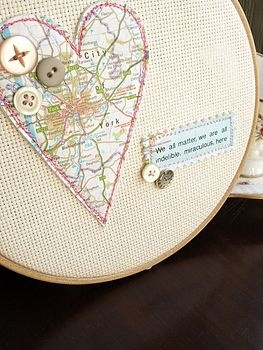 Perfect way to use an embroidery hoop to mark a special occasion, such as an anniversary.