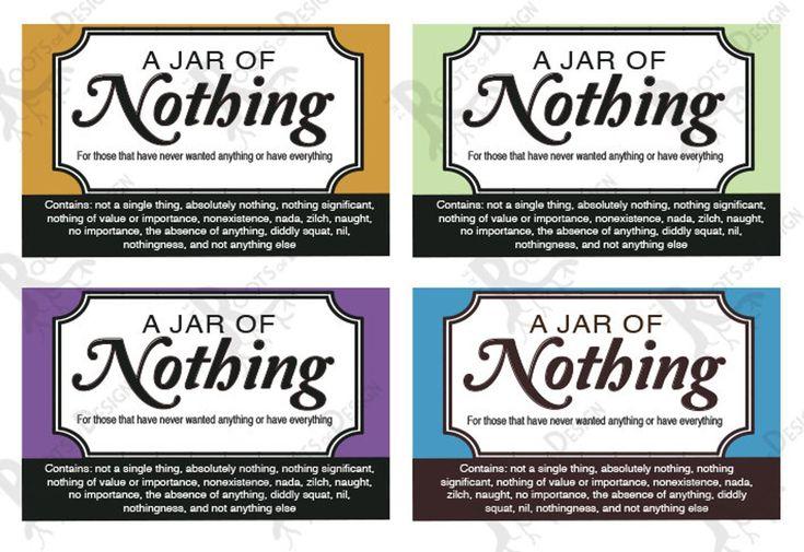 Instant Download Jar Of Nothing Printable Great Gag Gift Or Etsy In 2021 Gag Gifts Jar Gifts Jar