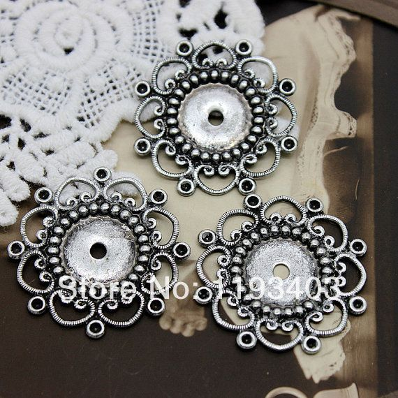 Min.mix order($9.9) 10PCS Antiqued Silver plated  brass Filigree Jewelry  Setting Cab Base Connector Finding (FILIG AS 3)-in Jewelry Findings & Components from Jewelry on Aliexpress.com | Alibaba Group