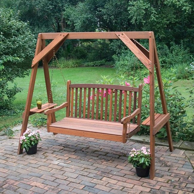 Great American Woodies Red Cedar 5 Foot Wood Swing Stand. I want one for the deck! I wonder if we could build this?