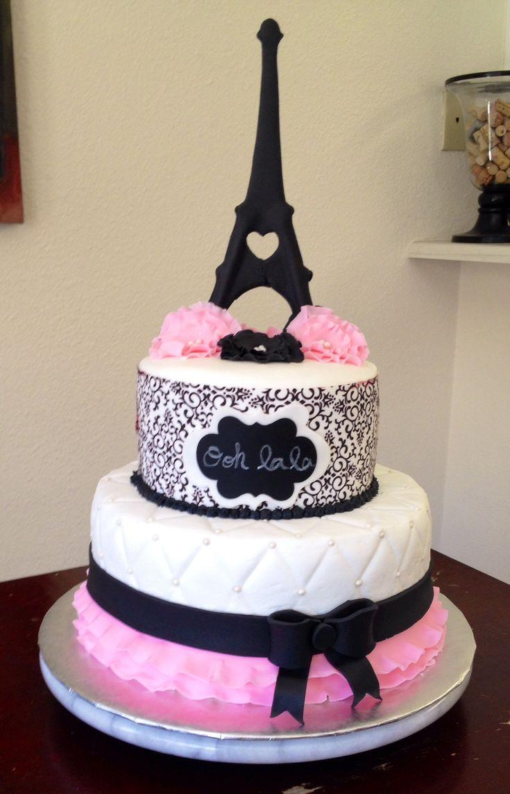 paris themed birthday cakes   handpainted fondant panels on a paris themed birthday cake