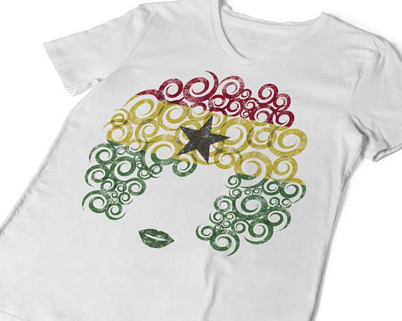 Natural Hair T-shirt Curls & Culture Ghana Flag Distressed Tee