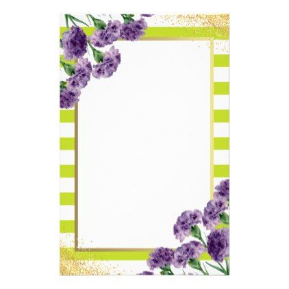 Lime Green Stripes Purple Carnations Gold Confetti Stationery - purple floral style gifts flower flowers diy customize unique