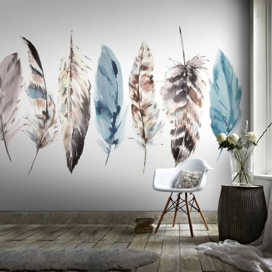 Couture watercolour feathers mural graham brown uk · bedroom muralswall