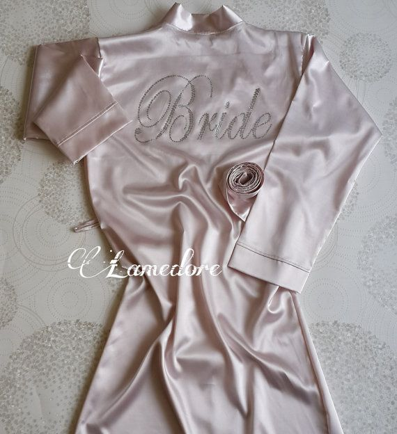 Bride Silk satin Robe with script rhinestone crystals by LAMEDORE