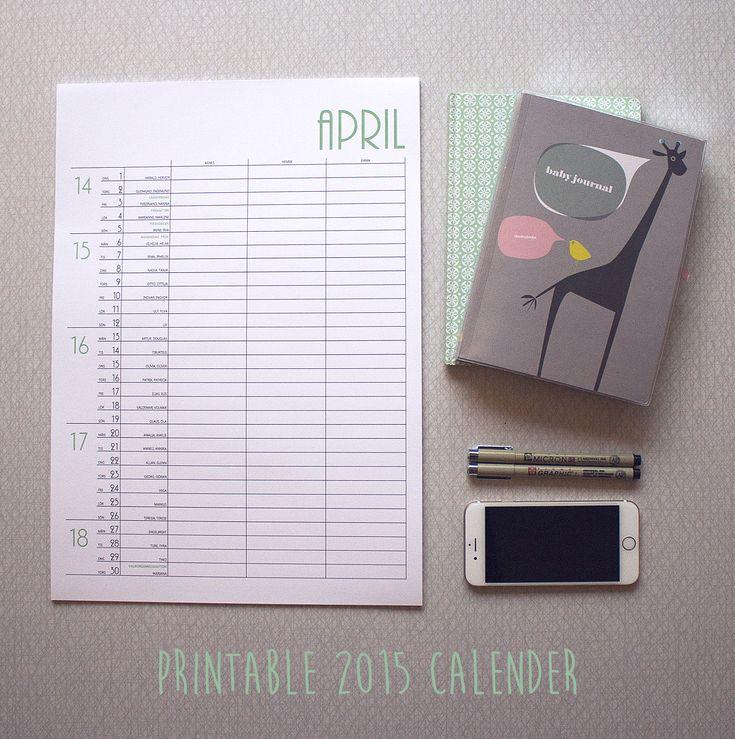 Printable DIY calender 2015. #monthlymakers