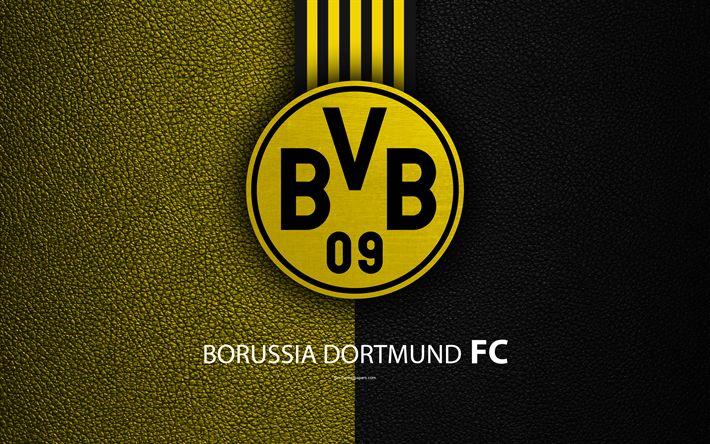 Download wallpapers Borussia Dortmund FC, 4k, German football club, Bundesliga, leather texture, emblem, BVB logo, Dortmund, Germany, German Football Championships