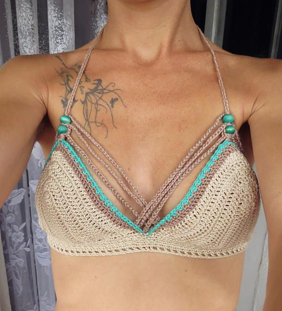 Crochet Bikini Top. Handmade by 100% cotton.