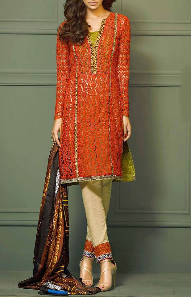 Buy Rust/Blueberry Embroidered Lace Lawn Dress by Asim Jofa 2015.