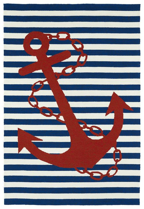 Bright, Bold Classic Nautical Motif And Colors Make Up This Seaworthy Navy  Striped Anchor Rug