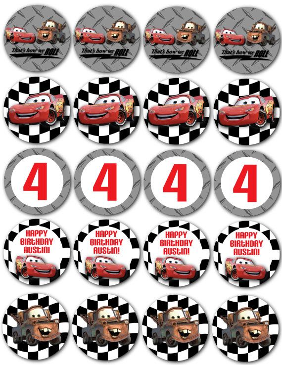 Cars Cupcake Toppers by nradesigns on Etsy, $5.00