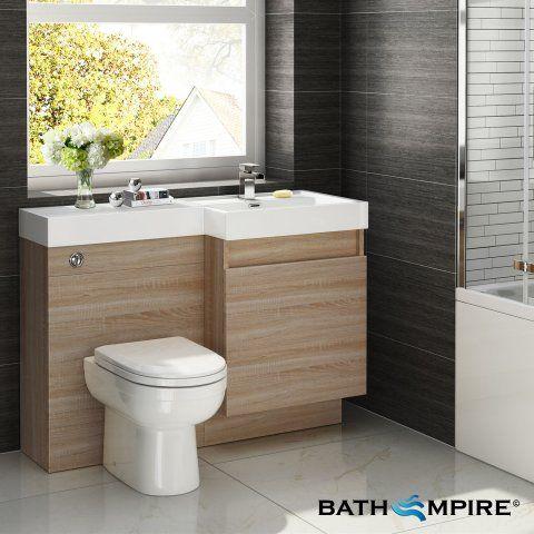 atlanta light oak combined suite with toilet and basin 1206x880mm - Light Hardwood Bathroom 2015