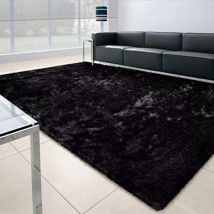 tapete peludo shaggy pelo alto 2,00 x 2,40 m preto ou cinza