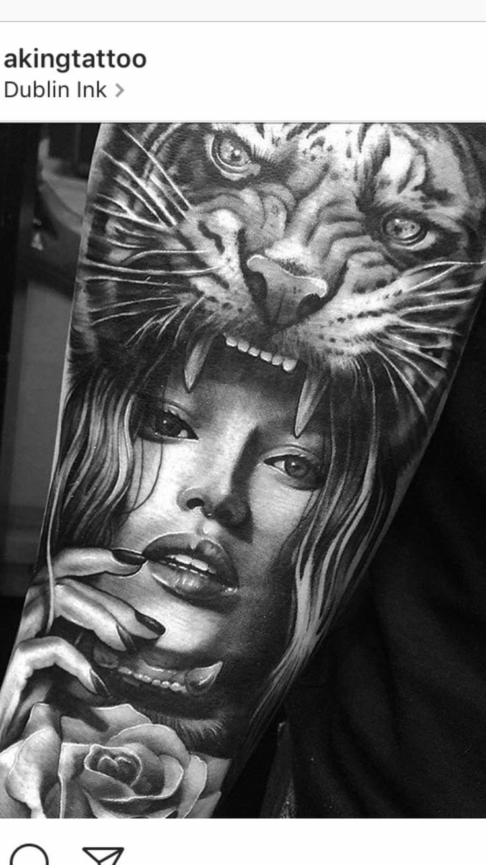 Tiger girl rose tattoo close up #tigertattoo #tigergirlrosetattoo #tattoo #ink #inked #sleeve #sleevetattoo #rosetattoo #rose #tattoos
