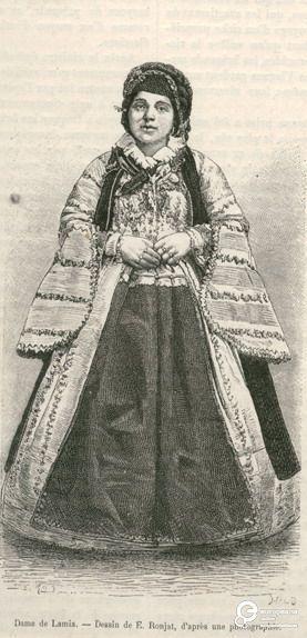 """Γυναίκα με φορεσιά Μετσόβου. Επιγραφή: """"Dame de Lamia - Dessin de E.Ronjat, d' après une photographie"""". Υπογραφές: """"E.Ronj"""", """"HILD"""". Από το περιοδικό """"Le Tour du Monde"""", Paris 1877. Δημιουργός: Le Tour du Monde. Ημερομηνία Δημιουργίας: 1877. Συλλέκτης: Peloponnesian Folklore Foundation Ίδρυμα: Europeana Fashion.  Συλλέκτης: Peloponnesian Folklore Foundation Ίδρυμα: Europeana Fashion"""