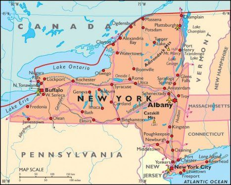 Map of the State of New York Boarding Pass to United