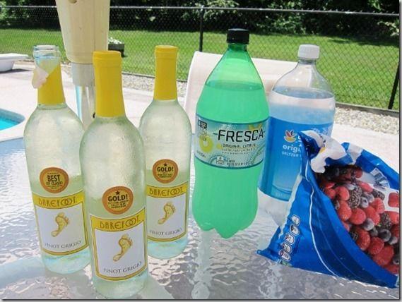 Simple Summer Sangria - 3 bottles Pinot Grigio, seltzer, fresca, frozen mixed berries