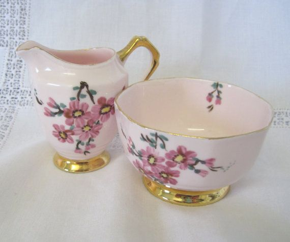 Vintage Tuscan Pink Cream and Sugar Set Hand by TheWhistlingMan, £6.00