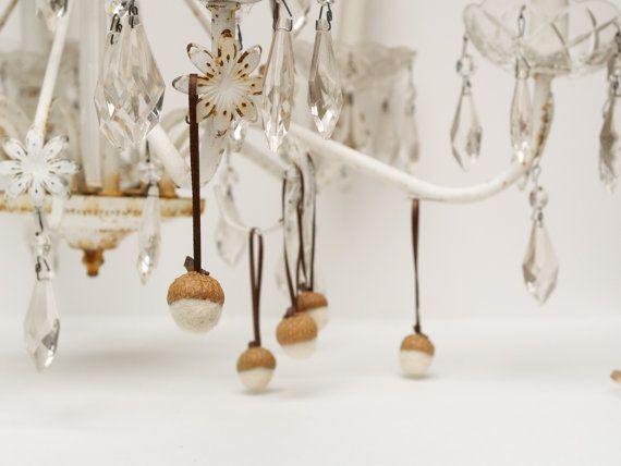 White Acorn Decorations