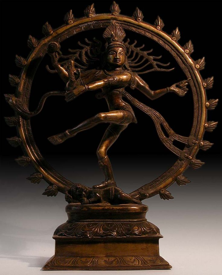 Indian Bronze Statue: Lord of the Dance. Shiva Nataraja, India. Ca. early 1900s. Siva Nataraja in the sacred dance of universal creation and destruction. For all cycles, all mortal lives and civilizations, all universes come into existence and come to an end. It is Shiva as Nataraja, who ignites the dissolution and creation of the universe at the beginning and end of cycles. His dance is dynamic and uncontrollably wild as he moves through the 108 forms and movements.