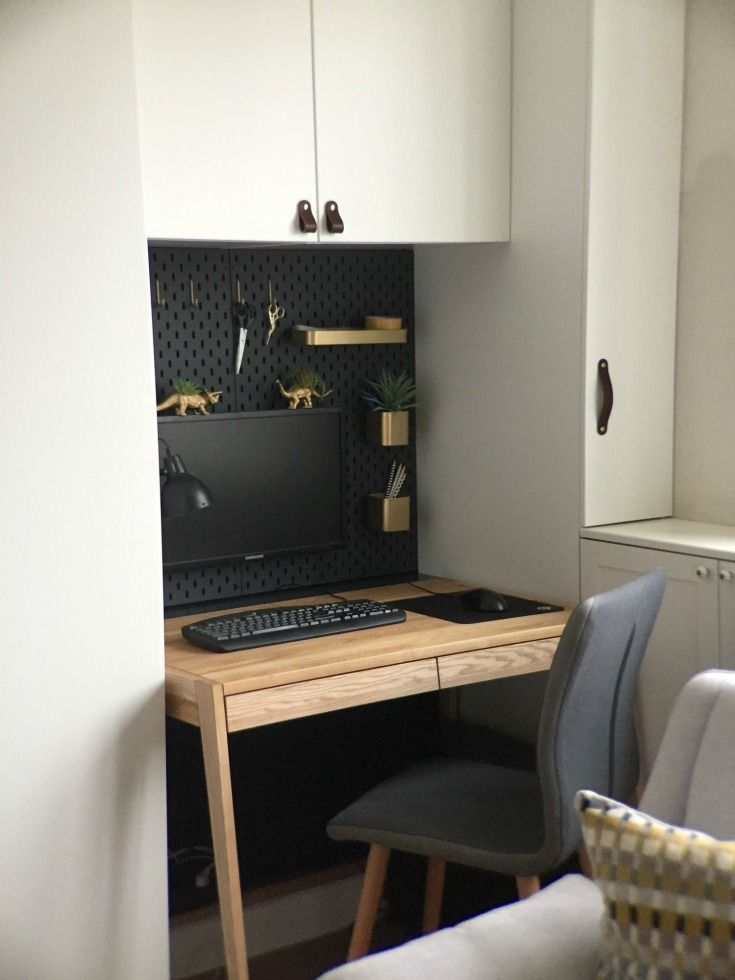 Ikea Skadis Hack For A Mini Office Nook Ikea Small Spaces Small Space Living Small Room Hacks