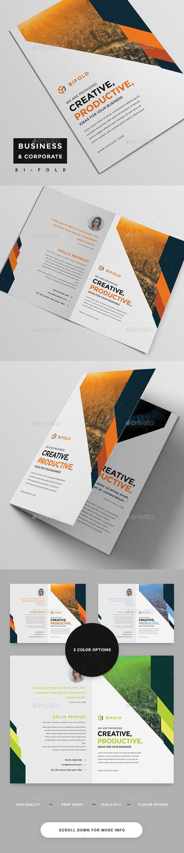 Corporate BiFold Brochure — Photoshop PSD #bi-fold #official • Download ➝ https://graphicriver.net/item/corporate-bifold-brochure/19278955?ref=pxcr