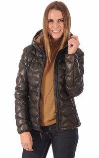 #Blouson #cuir #femme type doudoune en cuir agneau pour avoir bien chaud cet hiver !