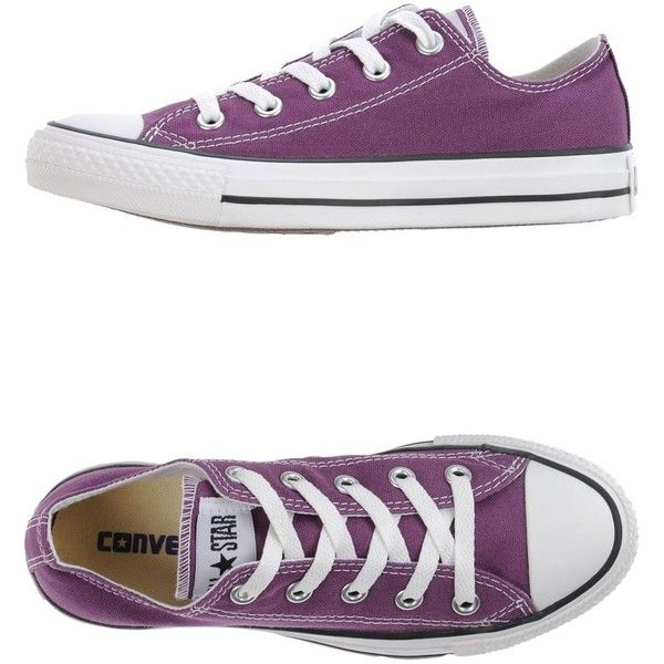 Converse All Star Sneakers ($130) ❤ liked on Polyvore featuring shoes, sneakers, converse, purple, purple flat shoes, round toe sneakers, round cap, round toe shoes and flat shoes
