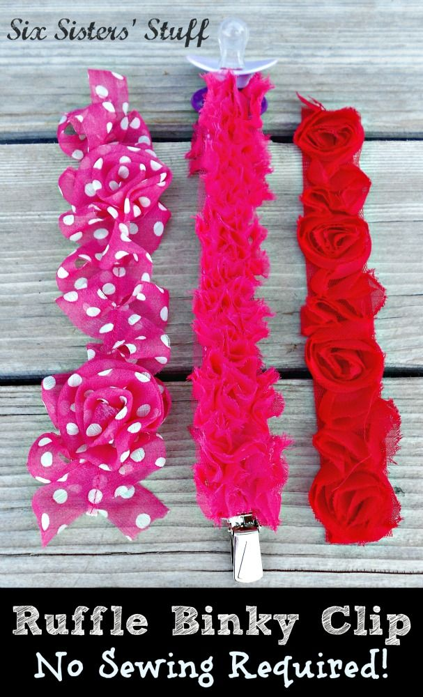 Ruffle Trim Binky Clip Tutorial (No Sewing Required!) Great baby shower gift!