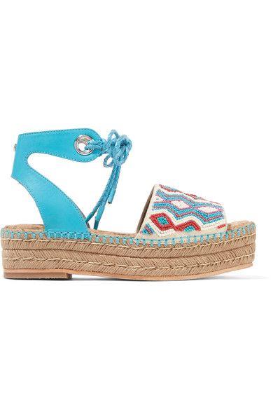 Sam Edelman - Neera Bead-embellished Leather Espadrille Sandals - Bright blue - US6.5