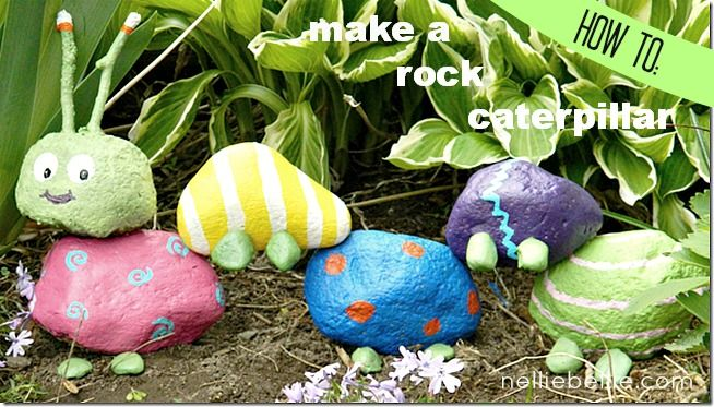 Garden Art Rock Caterpillar. A simple fun project for kids to enjoy. Kids enjoy treasure hunting for rocks and sticks and decorating with non-toxic acrylic paint. Encourage them to find a garden nook to add their creation. | The Micro Gardener