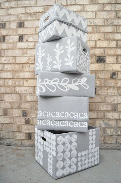 Turning plain boxes into lovely storage boxes with freezer paper | this heart of mine