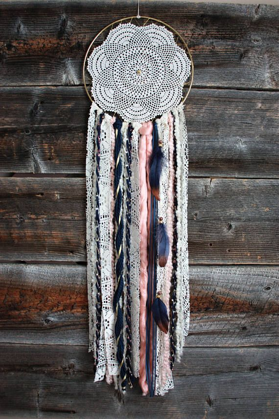 Check out this item in my Etsy shop https://www.etsy.com/ca/listing/572158967/navy-gold-blush-pink-dreamcatcher-dream