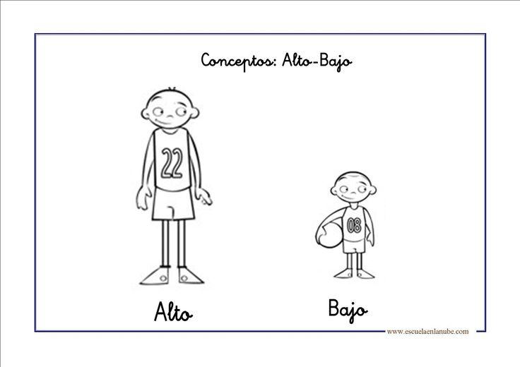 Fichas de infantil: Conceptos opuestos alto-bajo