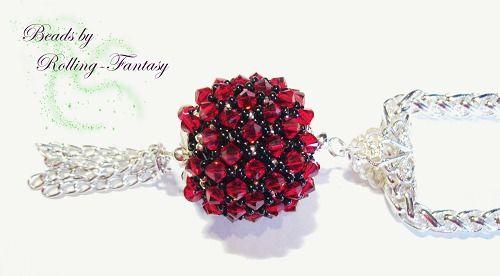 Anhänger mit Swarovski-Kristallen in rot-schwarz von Beads by Rolling-Fantasy auf DaWanda.com