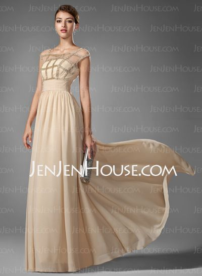 Prom Dresses - A-Line/Princess Scoop Neck Floor-Length Chiffon Prom Dresses With Ruffle Beading (018005069) http://jenjenhouse.com/A-line-Princess-Scoop-Neck-Floor-length-Chiffon-Prom-Dresses-With-Ruffle-Beading-018005069-g5069