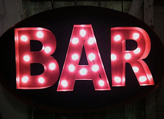 Commercial Sign Photography, Bar, Drinking, Pink, Neon Signs, Cocktails, White Polka Dots, Fine Art Photographic Print, 8x10