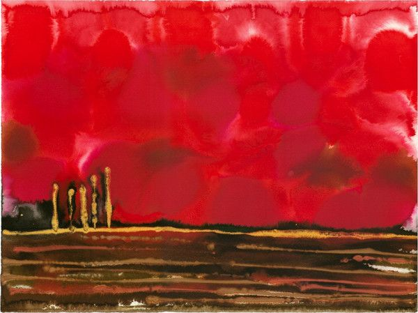Original Landscape Colourful / Colorful Modern Contemporary Acrylic and Ink Painting Artwork - On The Plain 10 - Blood Red Rubies - Vera Vera On The Wall - Vera Blagev