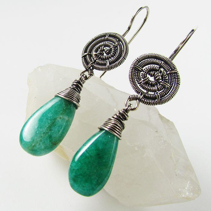 Green Quartz and SS Earrings by Gailavira